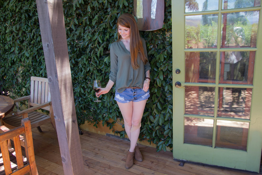 napa, napa valley, california, wine country, 24 hours in napa, what to do if you only have 1 day in napa, where to wine taste in napa, plumpjack winery, lush olive tunic, one teaspoon shorts, seychelles waypoint booties