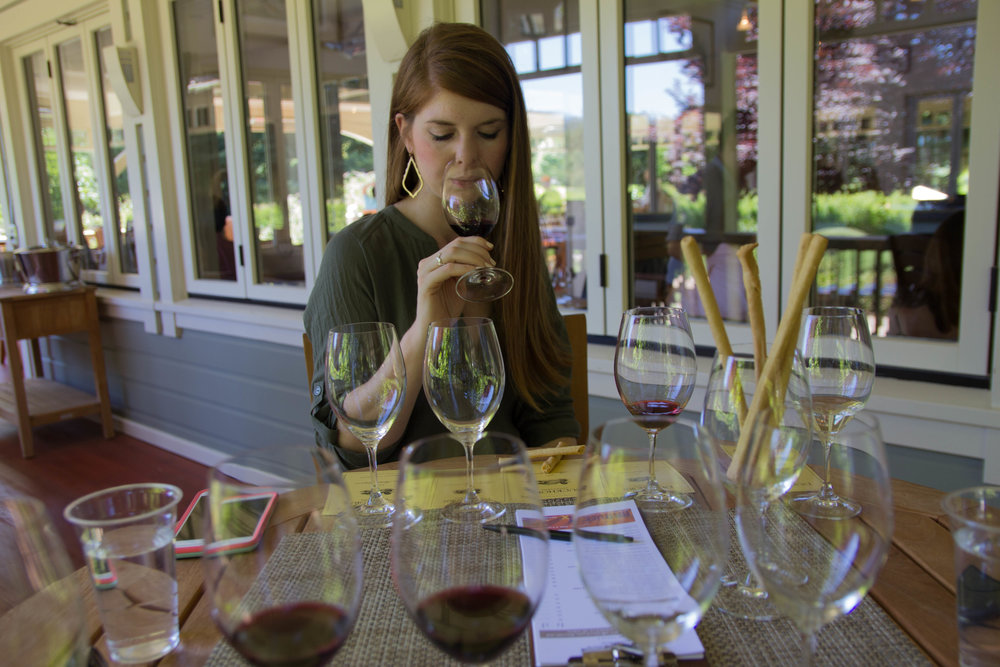 napa, napa valley, california, wine country, 24 hours in napa, what to do if you only have 1 day in napa, where to wine taste in napa, duckhorn winery, merlot, lush olive tunic, one teaspoon shorts, seychelles waypoint booties, kendra scott sophee earrings
