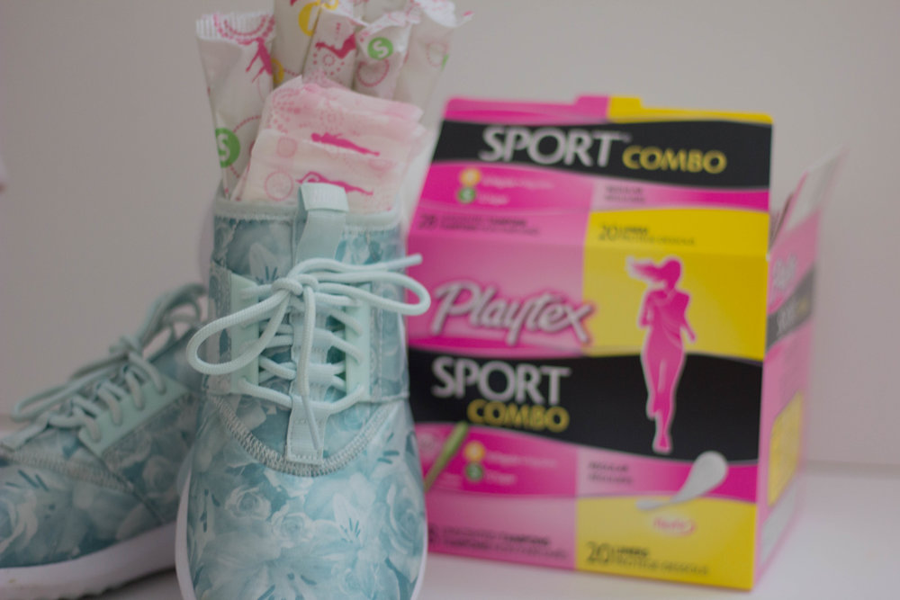 playtex sport compo pack, tampon, how to not let periods cramp your style, nike juvenate fiberglass tennis shoes