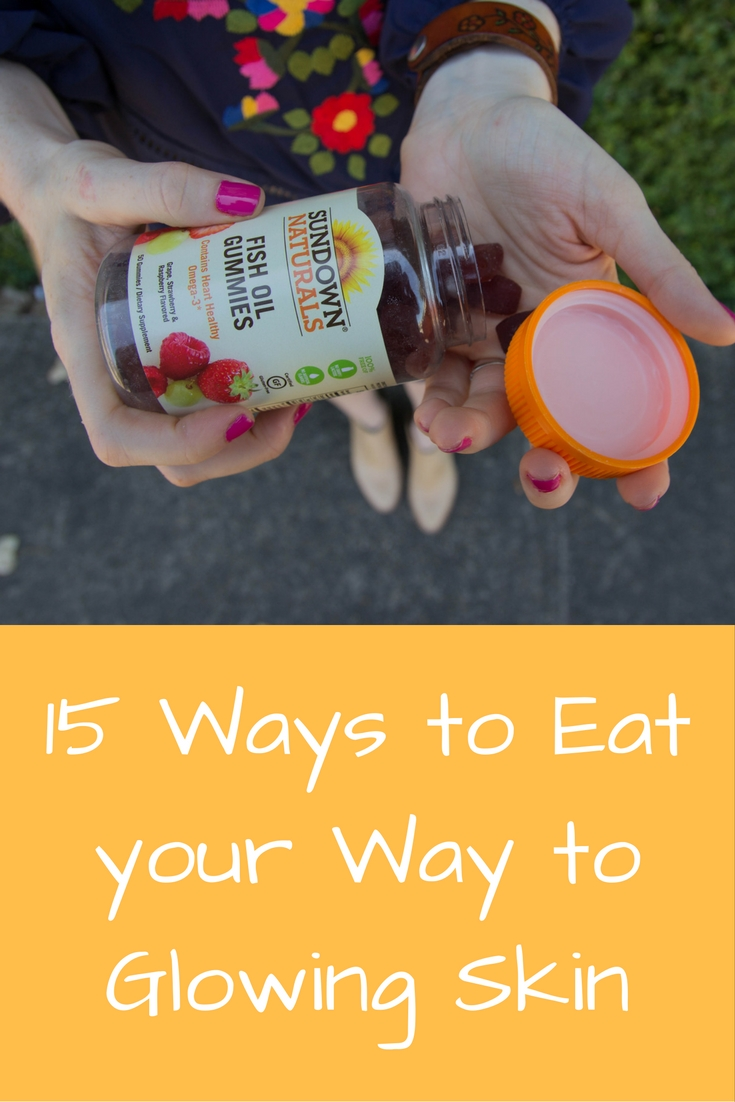 15 Ways to eat your way to glowing skin, sundown naturals, fish oil benefits, should i take fish oil, supplements, revolve dress, kendra scott, dolce vita haku bootie, cuyana gold small carryall