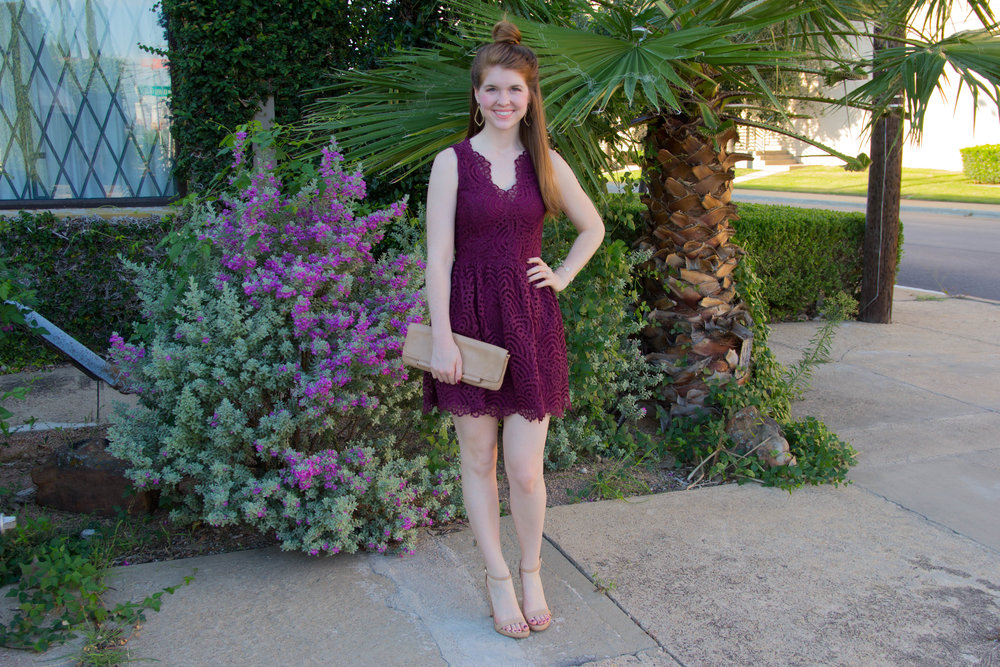 the art of versatility, lace dress 3 ways, revolve bobi dress, burgundy lace a-line dress, the perfect dress, baublebar earrings, kendra scott sophee earrings, elton cuff