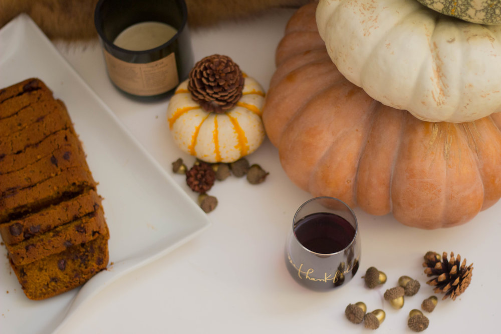 crate and barrel thankful collection, thankful stemless wineglass, fairytale pumpkins, trader joes, acorns, etsy acorns, pinecones, thanksgiving, sally's baking addiction, pumpkin chocolate chip bread, thankful, rewined spiked cider candle