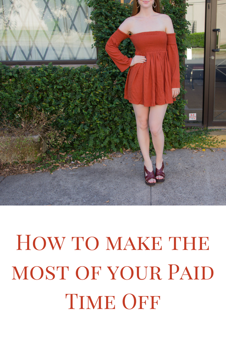 how to make the most of your PTO, how to travel more, tobi, shop tobi, off the shoulder long sleeve dress, burnt orange, texas orange, vacation, holiday, paid time off