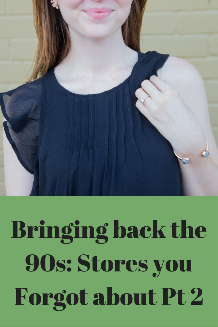 abercrombie and fitch, black ruffle dress, 90s trends, nude pointed toe flats, kendra scott druzy ear crawlers, bringing back the 90s, stores you forgot about