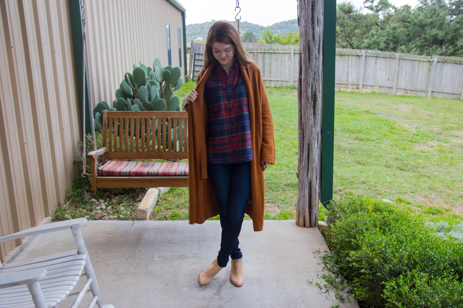 fall outfit essentials under $100, madewell plaid flannel, long cardigan, rust, dolce vita booties, fall jeans, sweaters, plaids, booties, comfort, texas