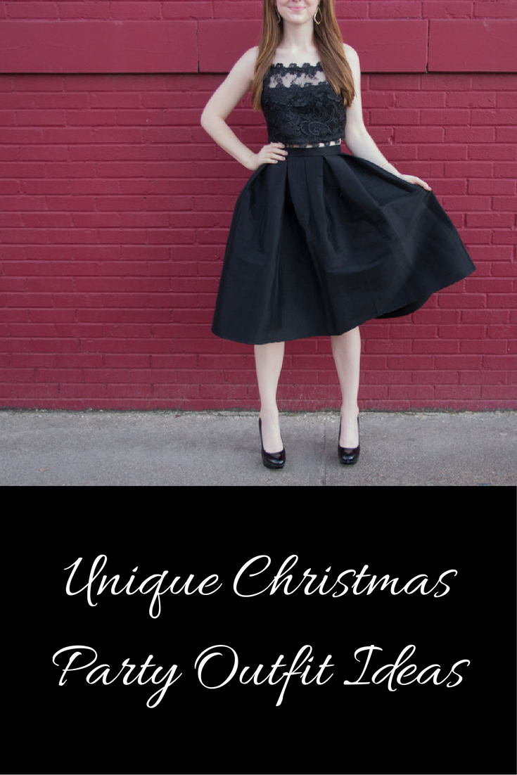 unique christmas party outfit idea, holiday party outfit, topshop lace crop, pleated black midi skirt, christmas look, party look, nye, new years eve outfit