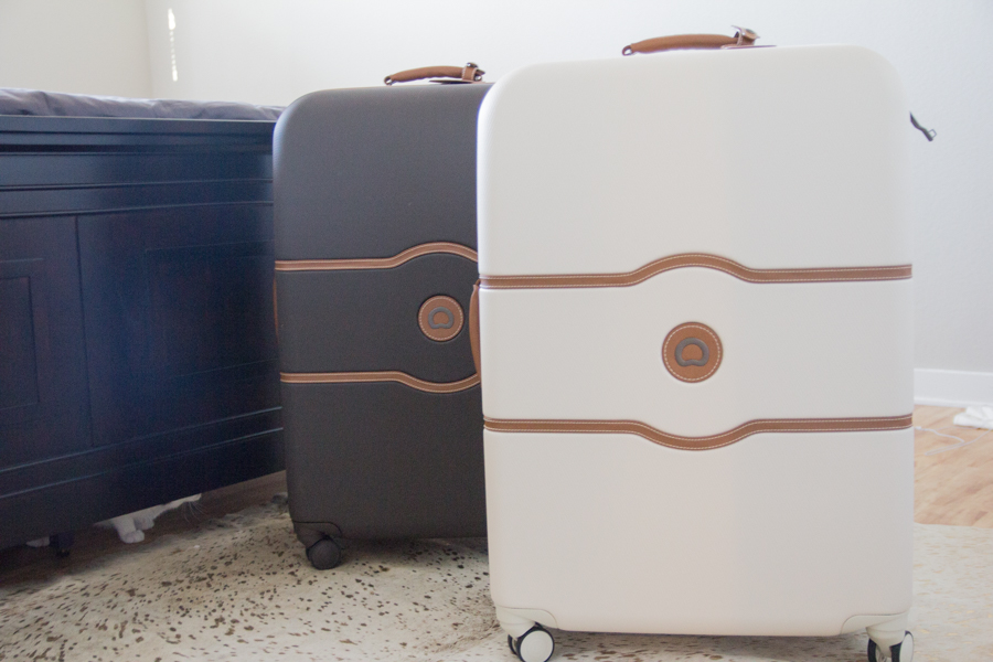 honeymoon packing list, delsey chatelet luggage, his and her luggage, wedding luggage, cream hard suitcase, chocolate brown luggage, saint lucia, beach vacation packing list, how to pack for your honeymoon