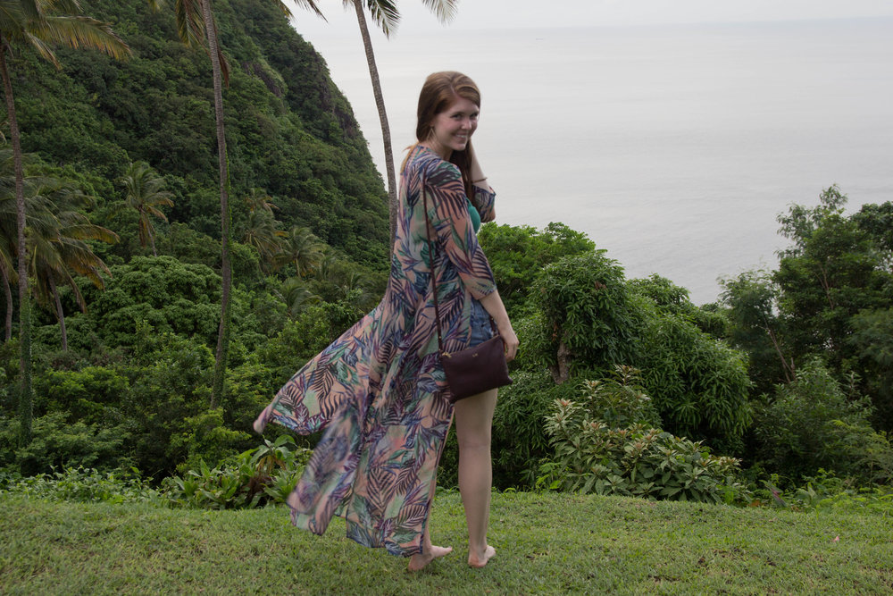 saint lucia, villa piton, where to stay in saint lucia, show me your mumu palm funday kimono, cuyana crossbody pouch, married monogram purse, married name wedding gift, bride gift