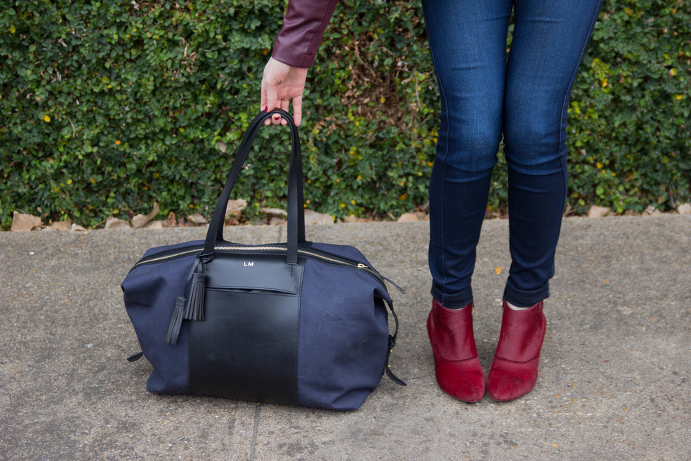 what to give the person who has everything, give better, fewer, better gifts, cuyana, bb dakota drape leather jacket, le sud overnight bag, baublebar earrings, burgundy booties