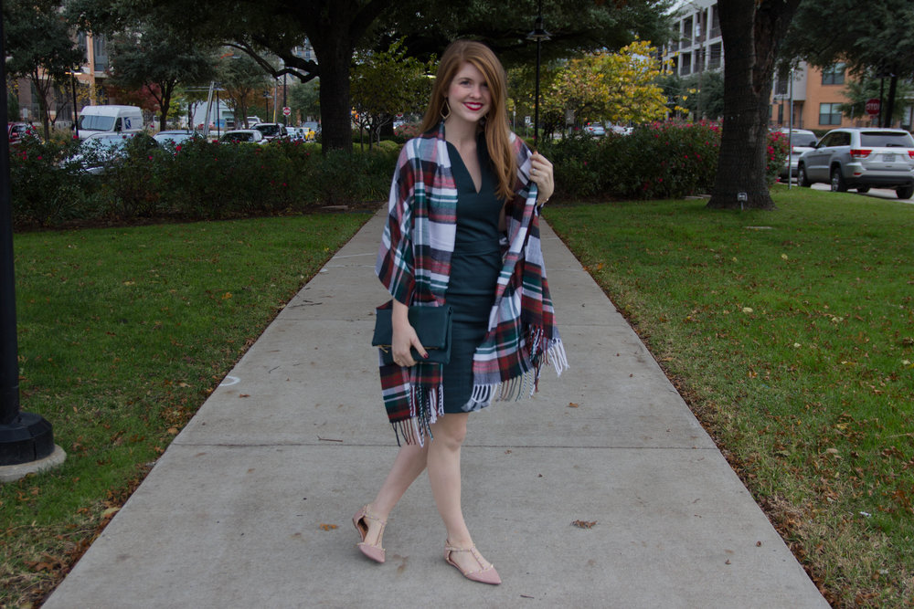 the art of versatility, work dress 3 ways styled for the holidays, french connection lolo dress, pantone greenery, j crew plaid shirt, matisse nugent booties, kendra scott sophee earrings, tory burch holiday shoes, the perfect plaid scarf, versatile, shop smart