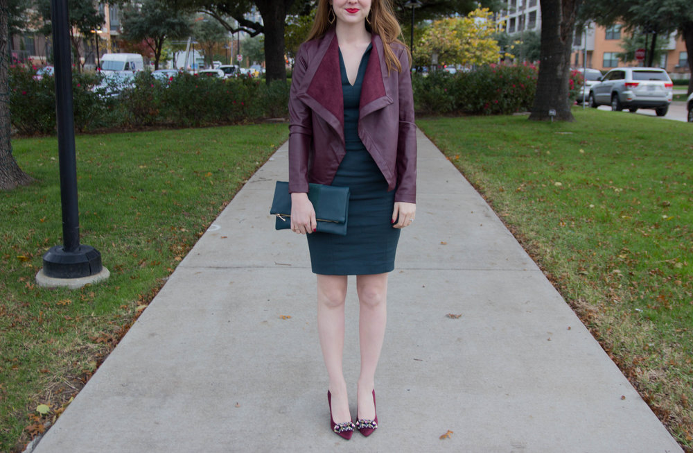 the art of versatility, work dress 3 ways styled for the holidays, french connection lolo dress, pantone greenery, j crew plaid shirt, matisse nugent booties, kendra scott sophee earrings, tory burch holiday shoes, the perfect plaid scarf, versatile, shop smart, burgundy moto jacket