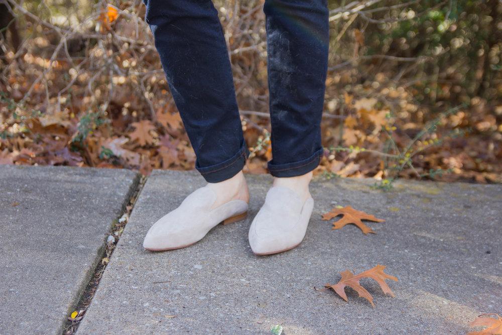 mules, kristin cavallari mules, suede shoes, j brand jeans, trend alert, baublebar earrings