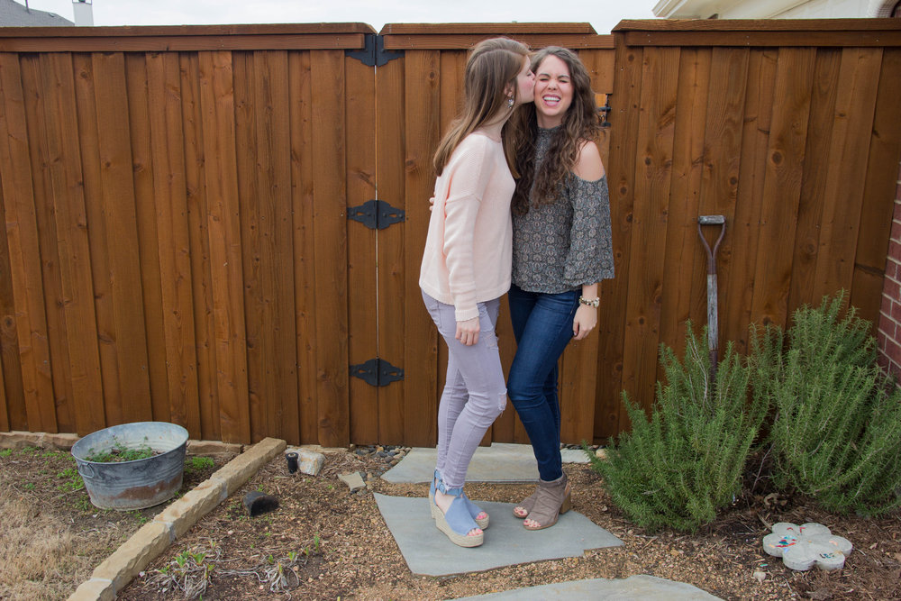 choose joy, aerie, aerie real, american eagle, christina kober designs, inspiRING, march fisher annie wedges, lavender pants, sisters, sister love, gift idea