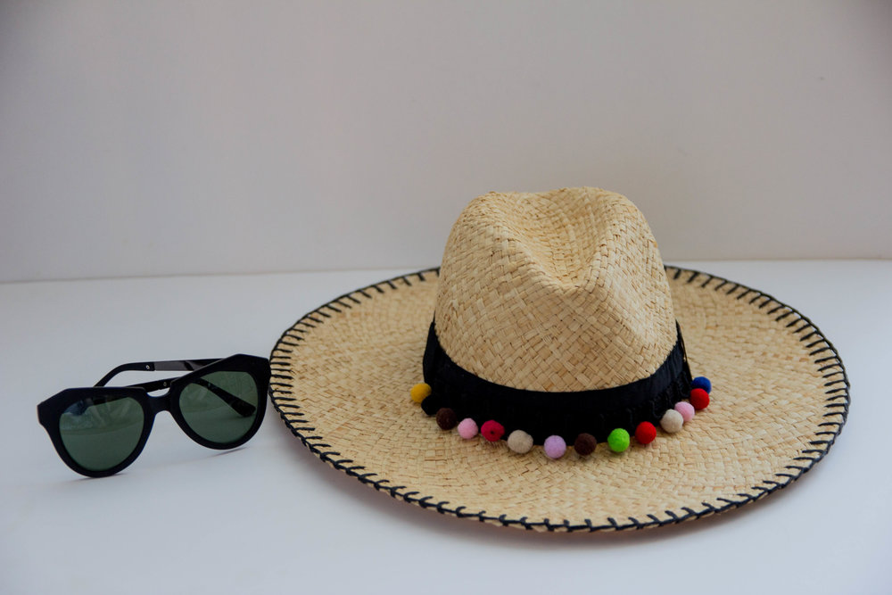 bikini guide, karen walker sunglasses, dupes, pom pom straw hat, pom pom