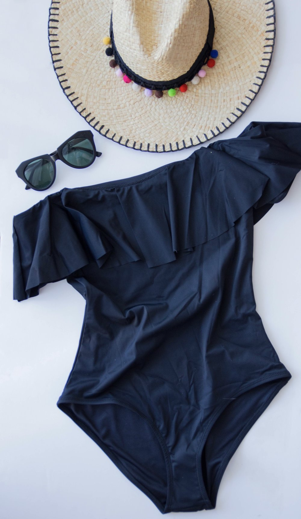 bikini guide, topshop black ruffle off the shoulder swimsuit, pom pom straw hat, pompom, karen walker sunglasses, dupes