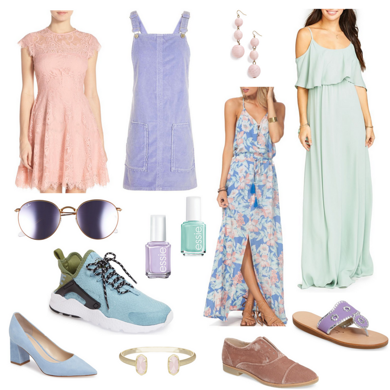 pastels, trend alert, round-up, pink, gold, blue, mint, lavender, astr floral wrap dress, a-line blush dress