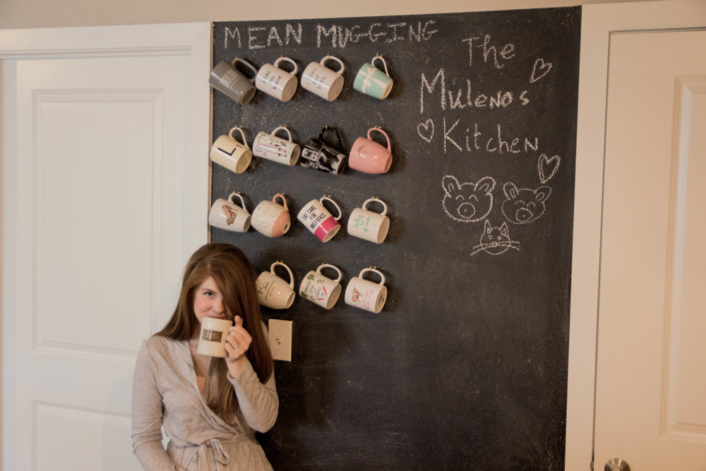 chalk board wall, mug wall, community coffee, aerie robe, confessions of a mugaholic