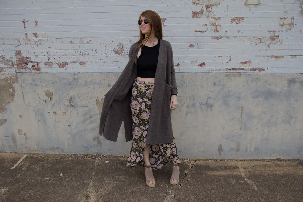Ray-ban 50mm Aviator Sunglasses, daniel wellington classic black, madewell long cardigan, vince camuto kayleena tassel platform loafer, marc fisher annie wedges, floral flounc maxi skirt, trend alert, smaller round sunglasses
