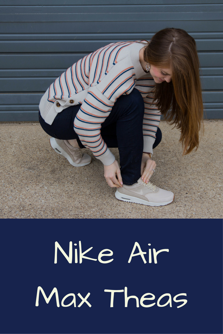nike air max thea, nike tennis shoes, j brand jeans, madewell sweater, baublebar earrings