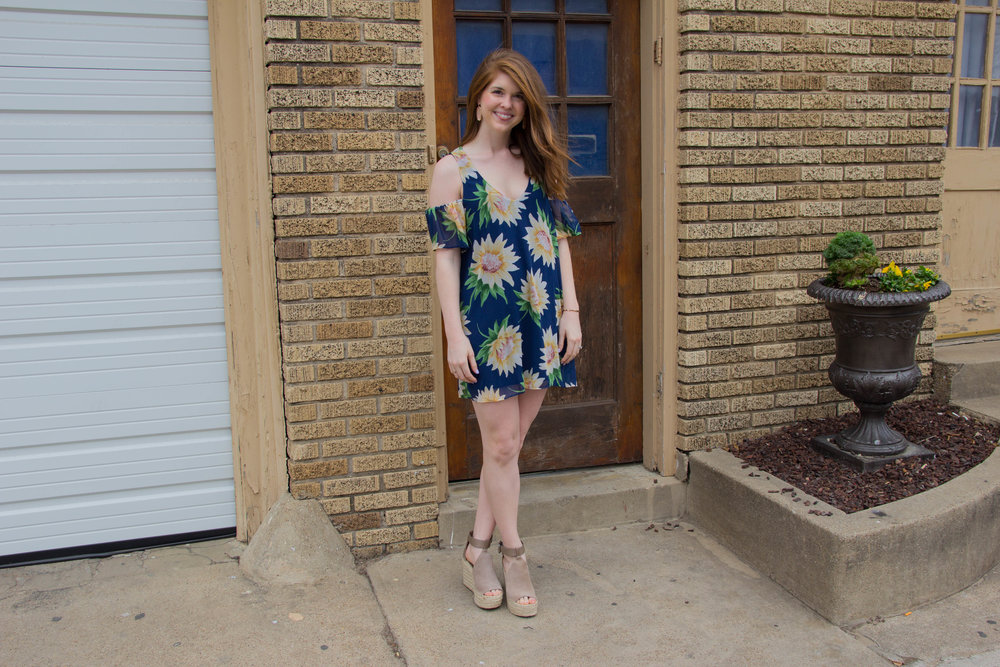 Show me your Mumu Sunflower Dreams Birdie Ruffle Dress, Kendra Scott Lauren Earrings, Daniel Wellington Rose Gold Cuff, Steve Madden Eden Over the Knee Boots, jack rogers lauren sandals, marc fisher annie wedges, bishop arts district