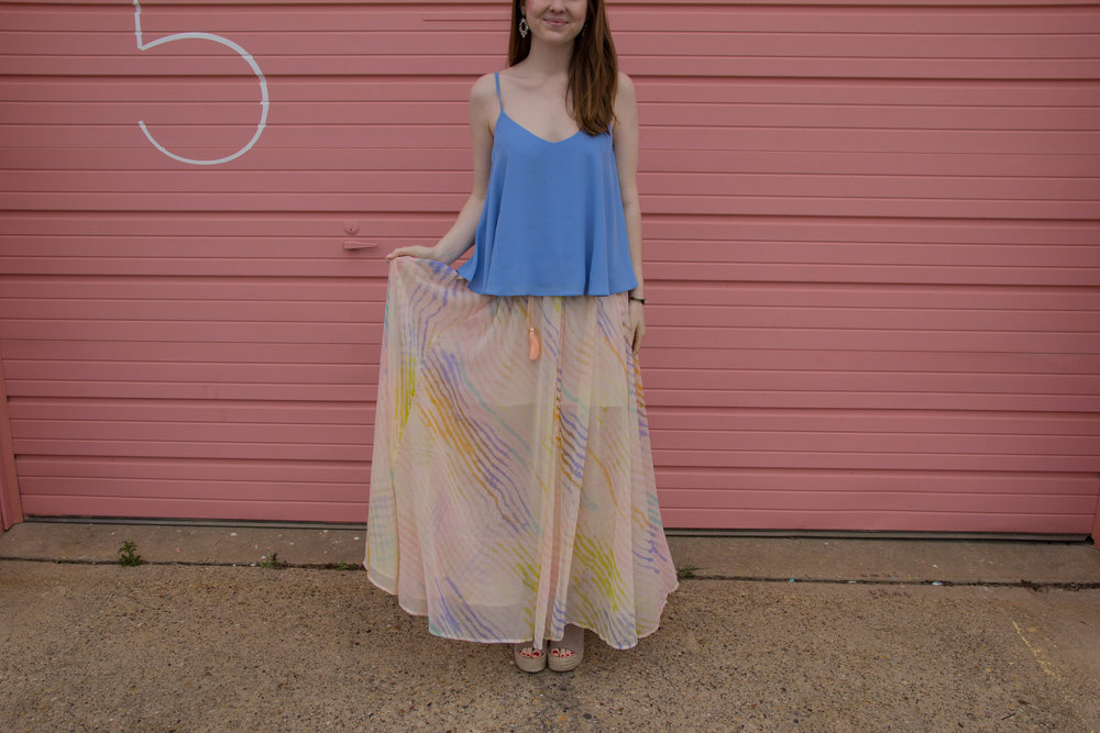 spring 2017 trends, topshop Rouleau Swing Camisole, free people true to you maxi skirt, marc fisher annie wedges, kendra scott sophee earrings, loren hope sarra cuff