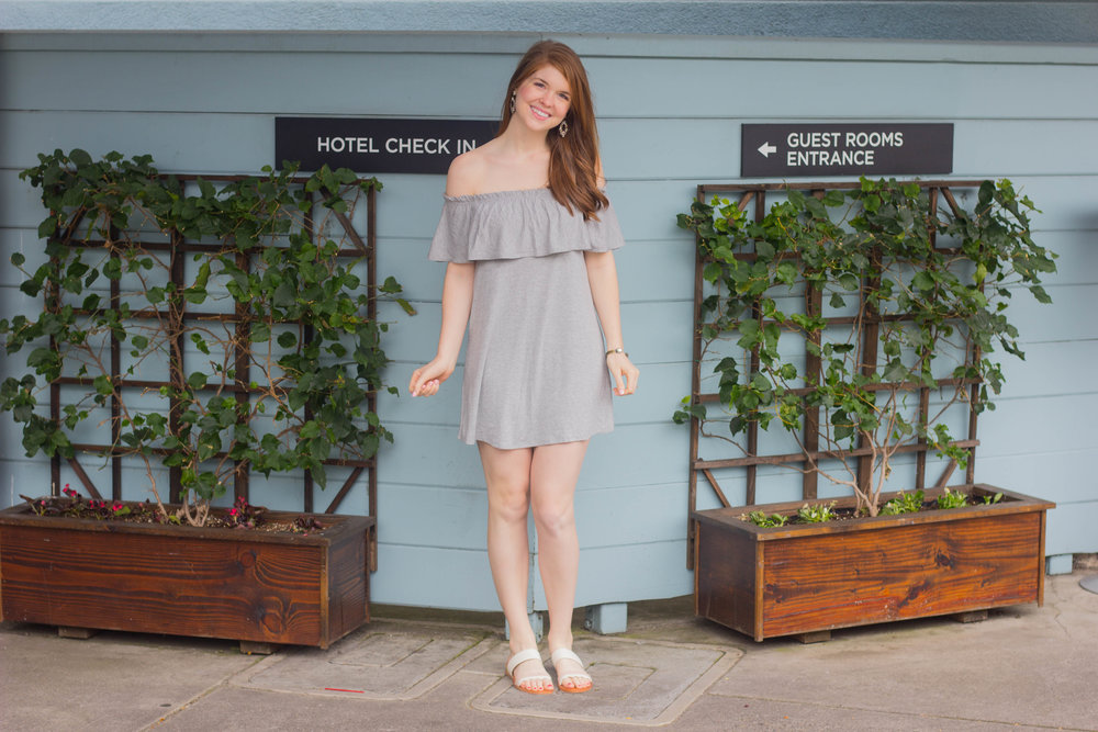 abercrombie off the shoulder dress, dolce vita sandals, where to stay in oakland, the waterfront hotel, joie de vivre hotels, san francisco, california, hotels,  where to stay in san francisco, boutique hotels