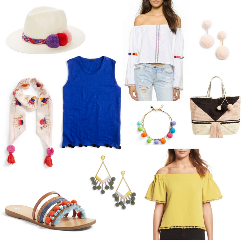 now trending pom poms, summer style, pom pom round up under $100, pom pom tee, shopbop, nike airmax thea, baublebar earrings