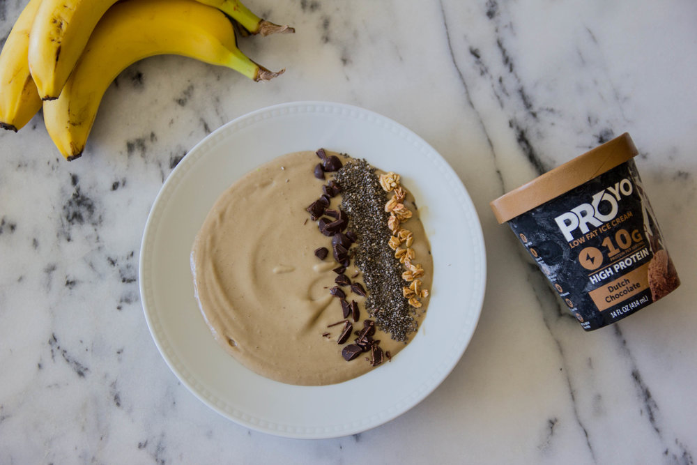 chocolate smoothie bowl, #AD, proyo high protein low fat ice cream that actually tastes good, smoothie bowls,  acai bowls, recipes, eating ice cream for breakfast