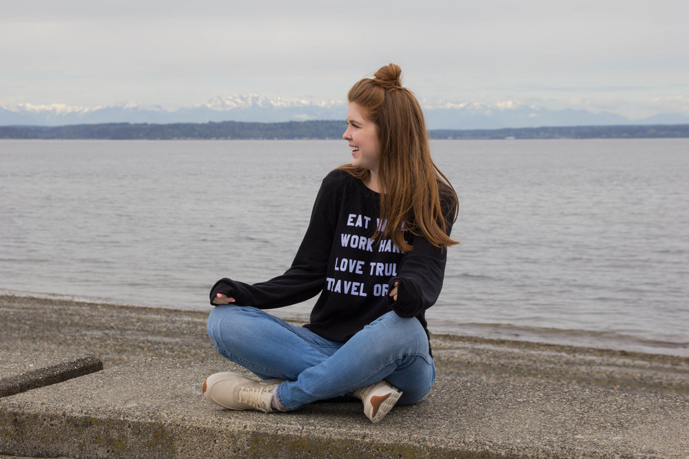 "where to get the best view of seattle, alki beach, washington mountains, beach in seattle, city view, eat well, work hard, love truly, travel often, wildfox mantra sweatshirt, madewell 10"" hank wash jeans, nike air max thea"