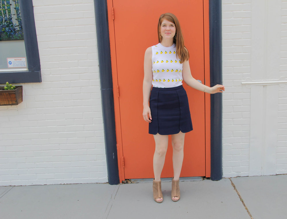 navy skirt 3 ways, the art of versatility, draper james mini skirt, howdy shirt, ruffled shirt, j crew lemon shirt, marc fisher annie wedge, dolce vita effie sandal, hushpuppies dreamy wedge