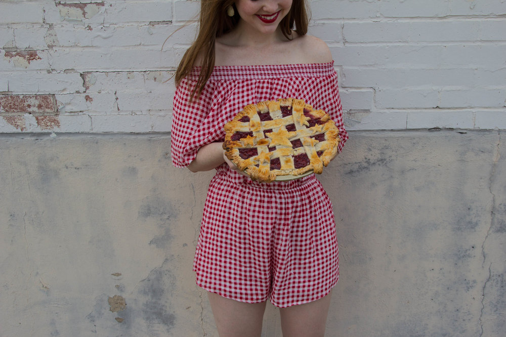 show me your mumu cherry pie gingham, dolce vita pacer slides, dallas fashion blogger, lments of style, nyx red lipstick, sally's baking addiction pie crust
