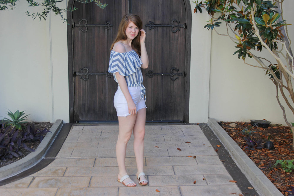 monarch beach resort, laguna beach, weekend in laguna beach, travel guide. what to do in laguna beach. american eagle off the shoulder stripe top, dolce vita pacer sandals, monarch beach resort