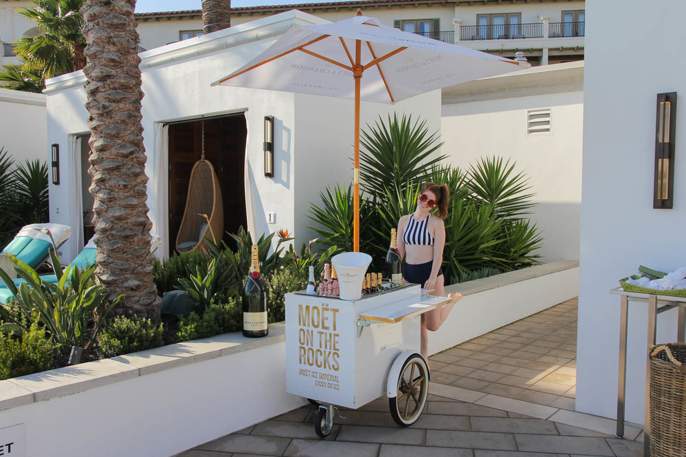 where to stay in laguna beach, laguna beach resorts, laguna beach hotels, monarch beach resort, dana point, visit california, moet on the rocks, veuve clicquot cart girl, aerie real, american eagle aerie swim