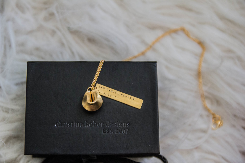 custom nameplate necklace, christina kober designs, fortune cookie necklace