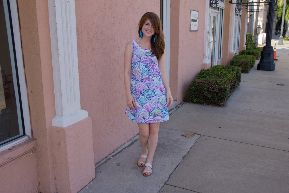 lilly pulitzer, stella shift dress, palm beach, worth avenue, baublebar rosalita earrings, dolce vita pacer slides, visit florida