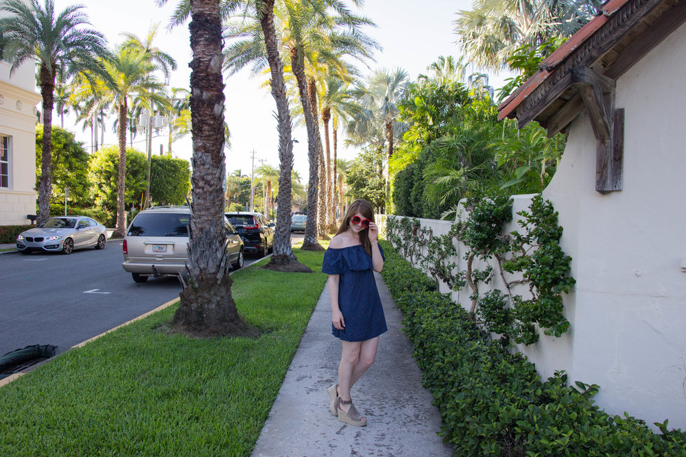 my favorite summer beauty product, amazing lash garland, palm beach, eyelash extensions, sun and moon sunglasses, off the shoulder denim dress, marc fisher annie wedges