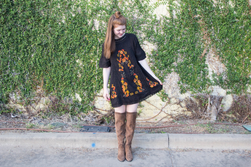 free people perfectly victorian minidress, vince camuto karinda over the knee boot