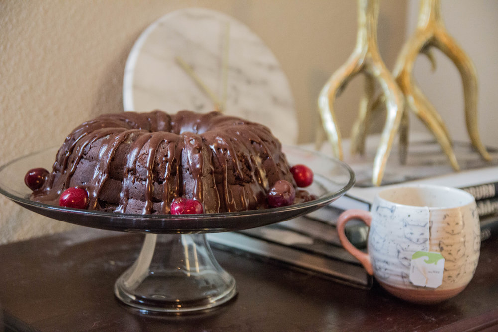 chocolate cherry bundt cake, anthropologie cat mug, mental health