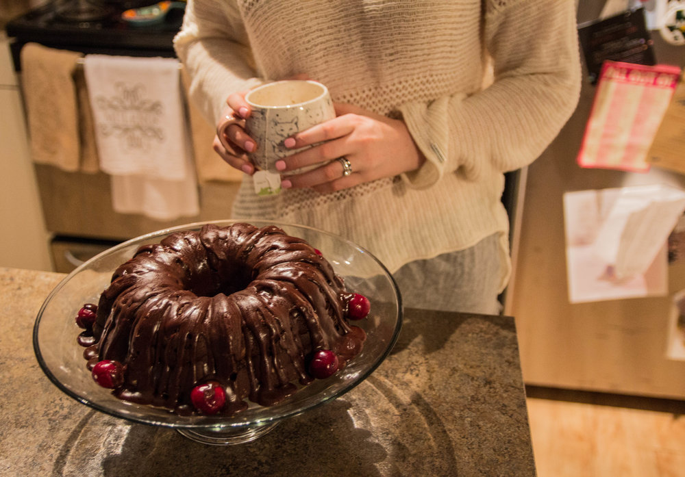 chocolate cherry bundt cake, anthropologie cat mug, mental health, prana sweater, abercrombie shorts, punch bowl cake plate