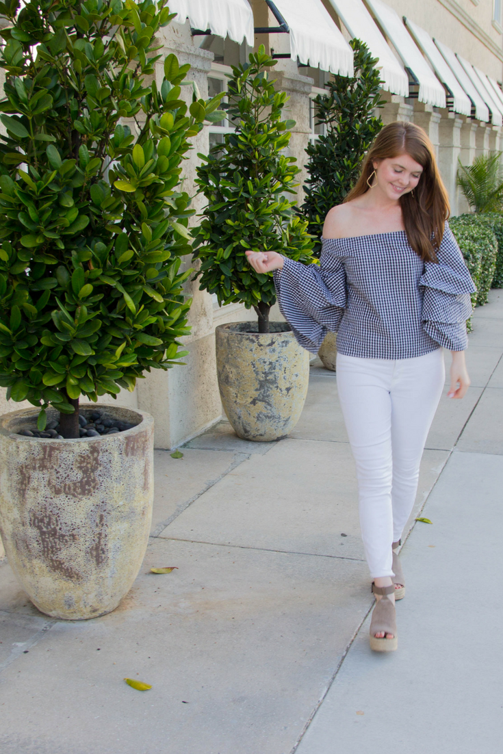 the best restaurant in palm beach, where to eat in palm beach, buccan palm beach, endless rose x revolve, j. crew toothpick white jeans, marc fisher annie wedges, kendra scott sophee earrings