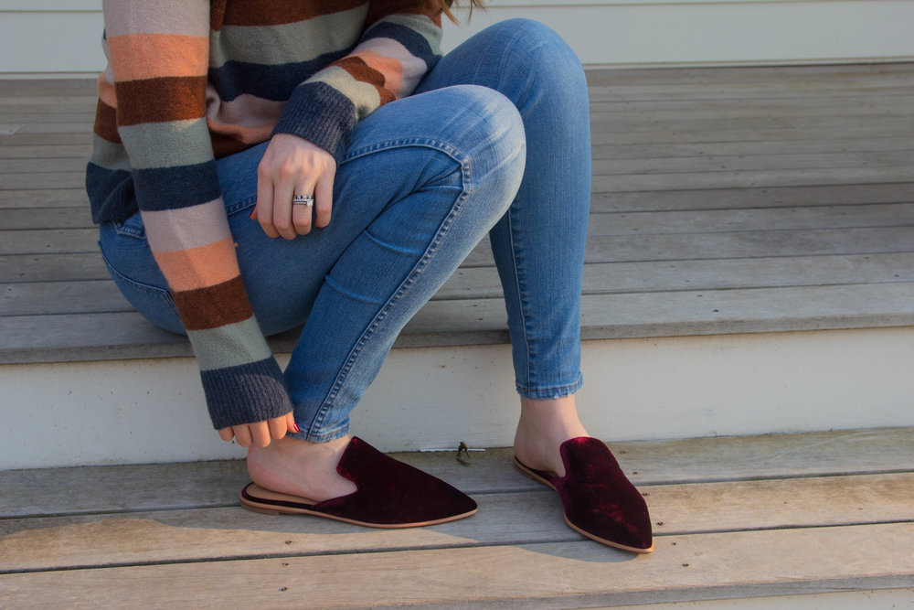 "madewell pullover sweater in elmwood stripe, the gemma mule in velvet, hank wash 10"" jeans, kendra scott sophee earrings, velvet shoes, trend alert, velvet mules, pinot noir, atthejoy, willamette valley, oregon"