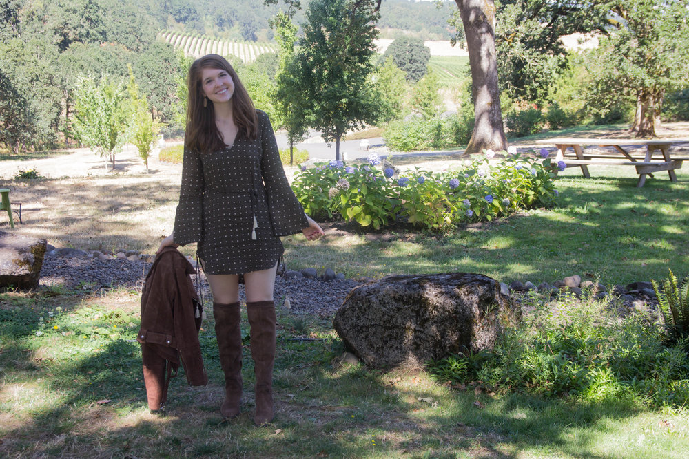 where to wine taste in the willamette valley, oregon, wine tasting, left coast cellars, faithfull the brand neroli shirtdress, dolce vita karinda over the knee boots, blanknyc moto jacket