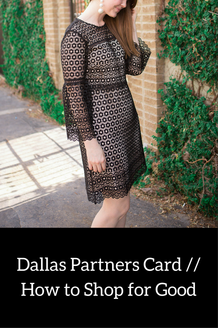 hannah banana photography, j crew bell-sleeve daisylace dress, baublebar pearl crispin earrings, dallas partners card, the family place, bank of texas, ways to give back when you shop, what is partners card