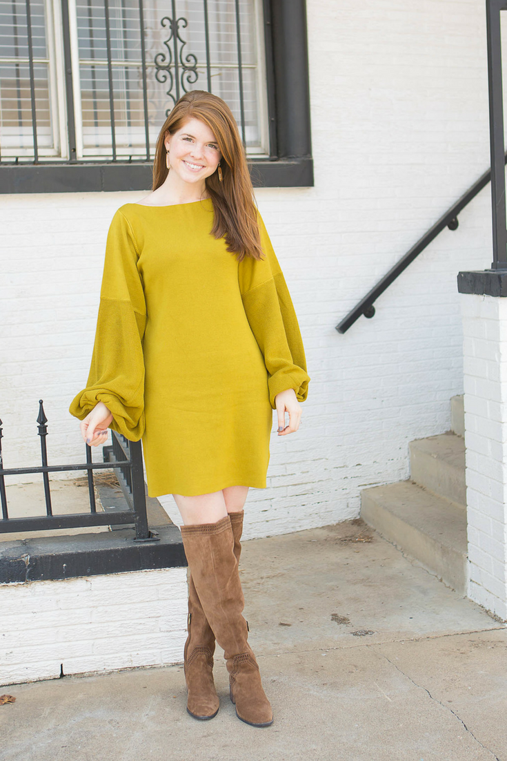 hannah banana photography, free people pink star mini dress, vince camuto karinda over the knee boots, chartreuse, yellow mustard, color crush, trends