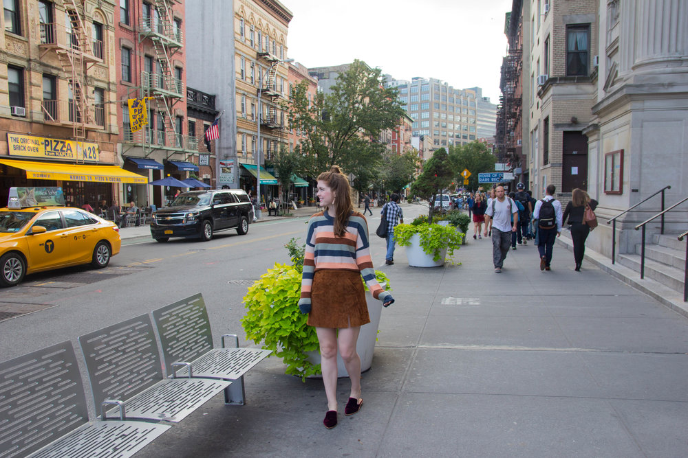 madewell elmwood stripe sweater, blanknyc suede miniskirt, madewell gemma mule, kendra scott earrings, west village nyc, adult friendships and other things people don't talk about