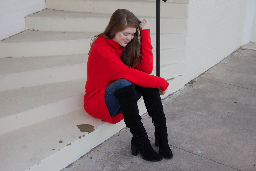 "free people ottoman slouchy tunic, madewell 10"" danny wash jeans, vince camuto madolee over the knee boots, pops of red, fall trends"