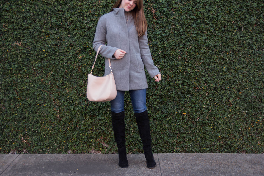 "j crew factory city coat, madewell danny 10"" jeans, vince camuto madolee boots, cuyana dallas, where to buy leather goods in dallas, small hobo bag, dallas blogger, lments of style, ellespann"