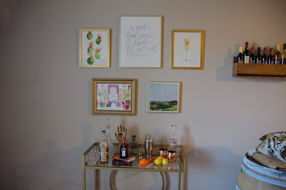 Minted Art, Minted Home, How To Decorate A Bar Cart Gallery Wall, Home