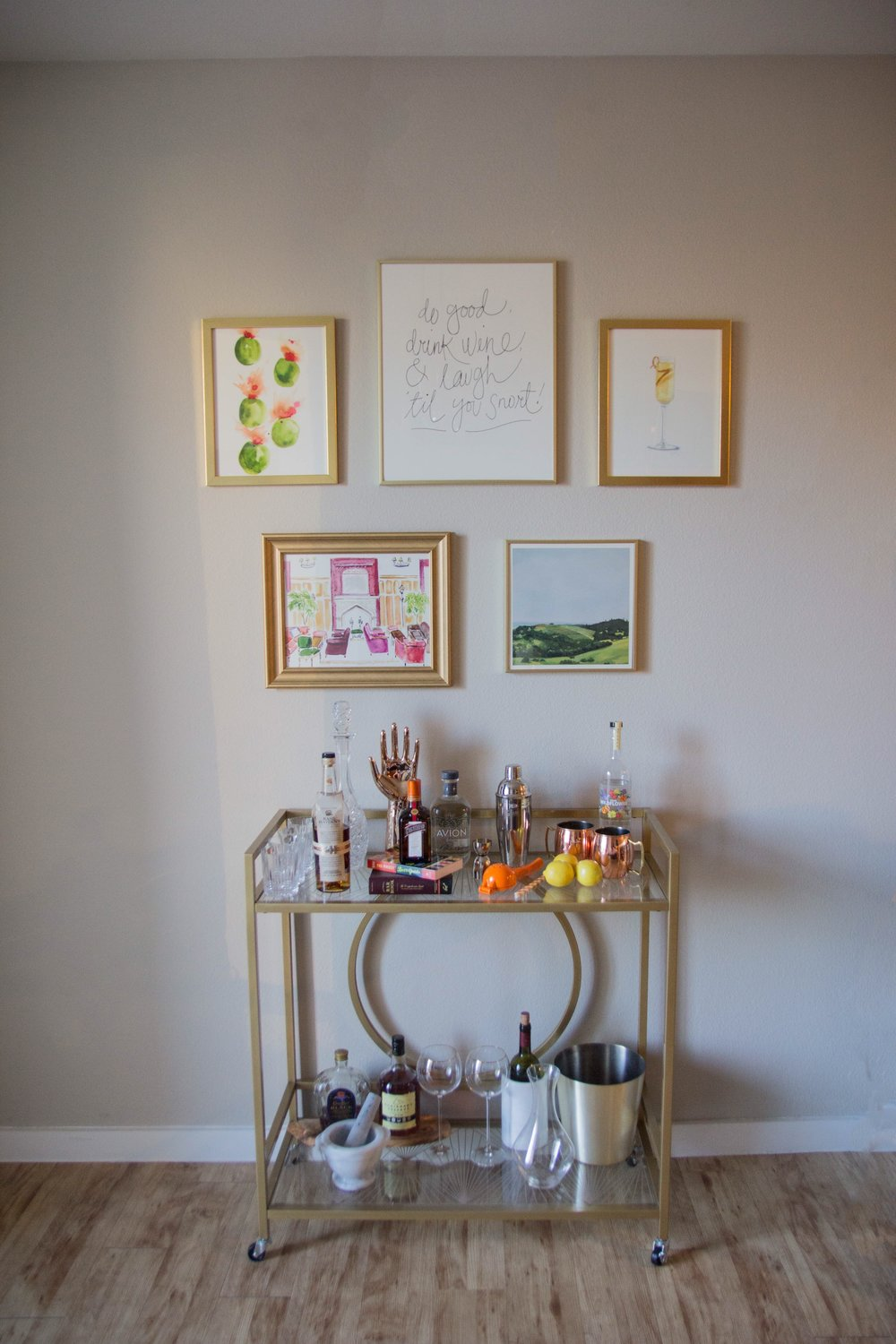 minted art, minted home, how to decorate a bar cart gallery wall, home inspo, wall space, cocktail corner