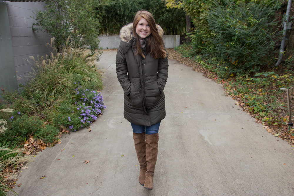 cute and warm coats under $100, maralyn and me quilted jacket with faux fur lined hood, madewell danny wash jeans, dolce vita karinda over the knee boots,